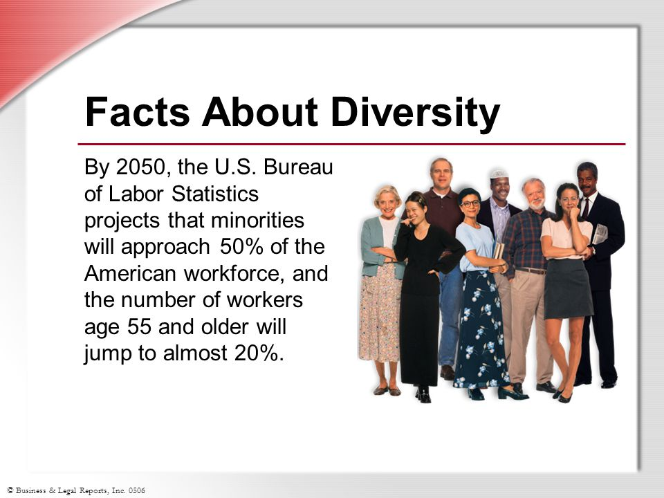 © Business & Legal Reports, Inc. 0506 Facts About Diversity By 2050, the U.S. Bureau of Labor Statistics projects that minorities will approach 50% of