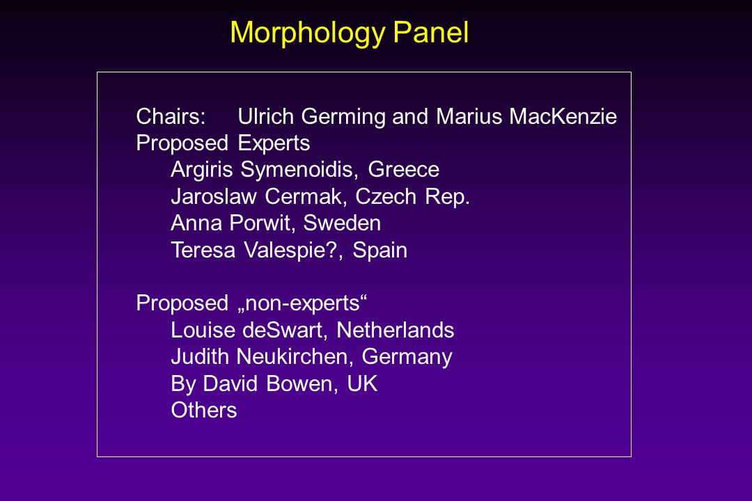 Morphology Panel Chairs:Ulrich Germing and Marius MacKenzie Proposed Experts Argiris Symenoidis, Greece Jaroslaw Cermak, Czech Rep. Anna Porwit, Swede