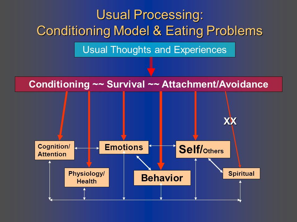 Usual Processing: Conditioning Model & Eating Problems Usual Thoughts and Experiences Conditioning ~~ Survival ~~ Attachment/Avoidance Cognition/ Atte