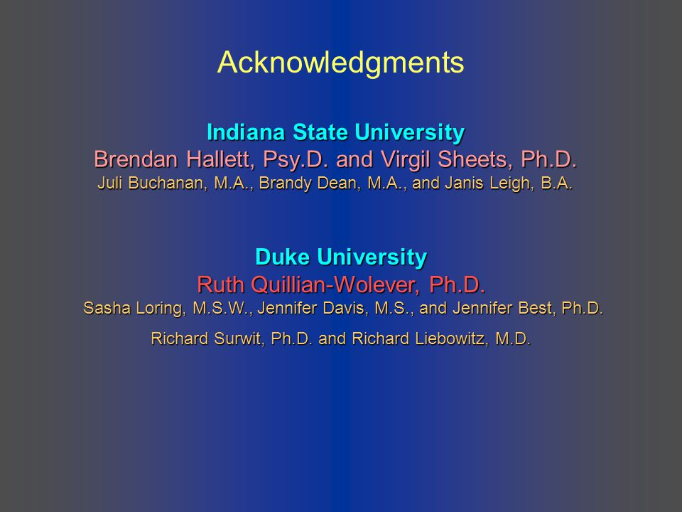 Indiana State University Brendan Hallett, Psy.D. and Virgil Sheets, Ph.D. Juli Buchanan, M.A., Brandy Dean, M.A., and Janis Leigh, B.A. Duke Universit
