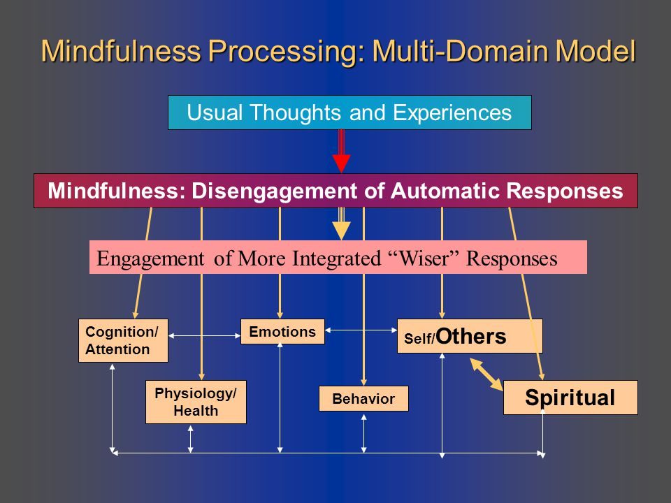 Mindfulness Processing: Multi-Domain Model Usual Thoughts and Experiences Mindfulness: Disengagement of Automatic Responses Cognition/ Attention Physi