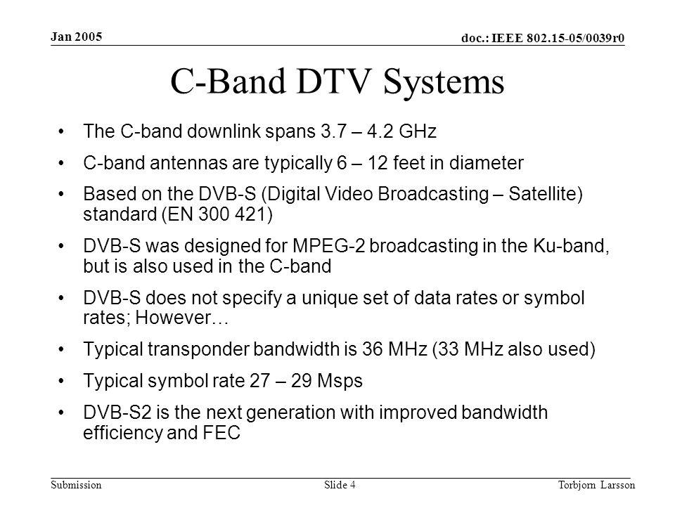 doc.: IEEE 802.15-05/0039r0 Submission Jan 2005 Torbjorn LarssonSlide 5 DVB-S