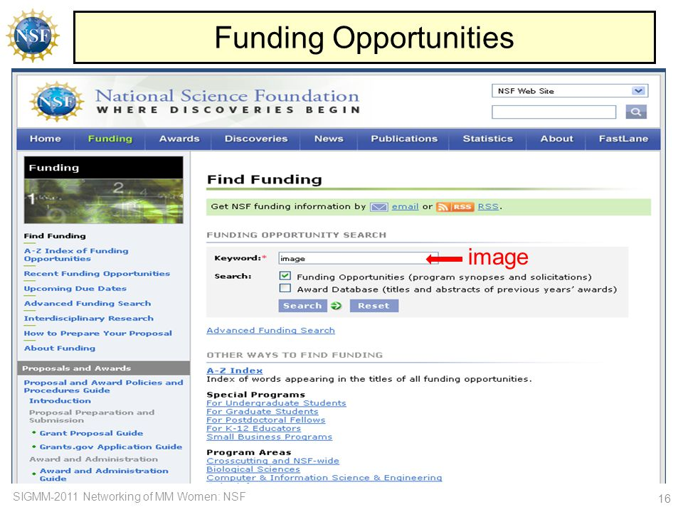 SIGMM-2011 Networking of MM Women: NSF Funding Opportunities 16 image