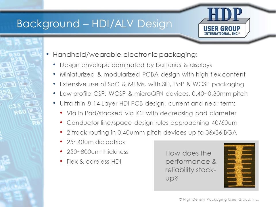 Background – HDI/ALV Design Handheld/wearable electronic packaging: Design envelope dominated by batteries & displays Miniaturized & modularized PCBA