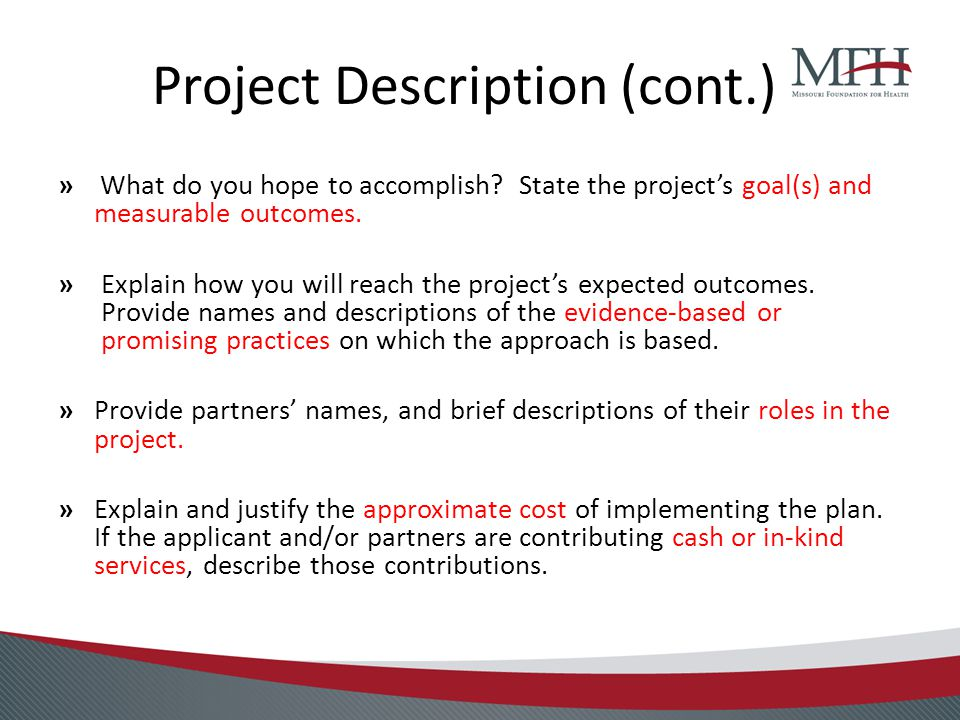 Project Description (cont.) » What do you hope to accomplish.