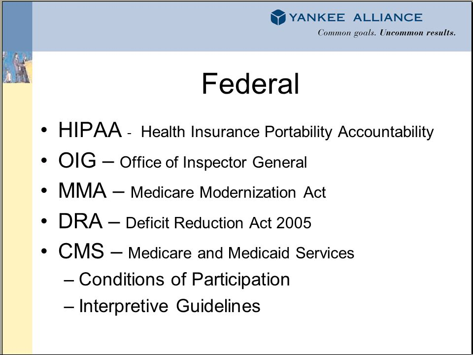 State Medicaid Homeland Security (State Preparedness) DPH – Department of Public Health General laws – Consumer Protection