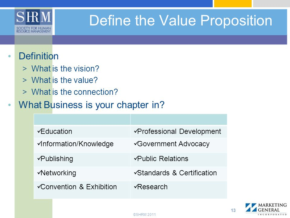 ©SHRM 2011 Define the Value Proposition Definition >What is the vision.
