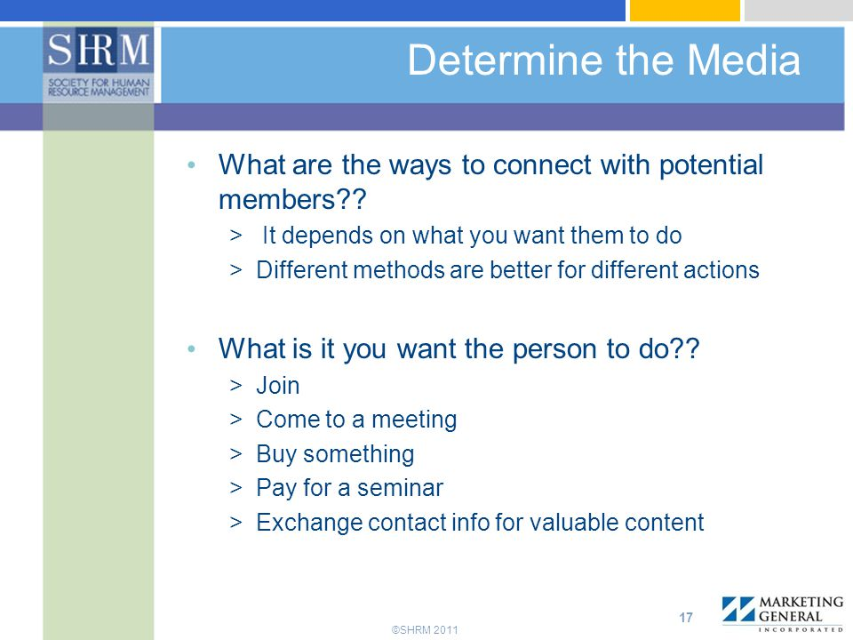 ©SHRM 2011 Determine the Media What are the ways to connect with potential members?.