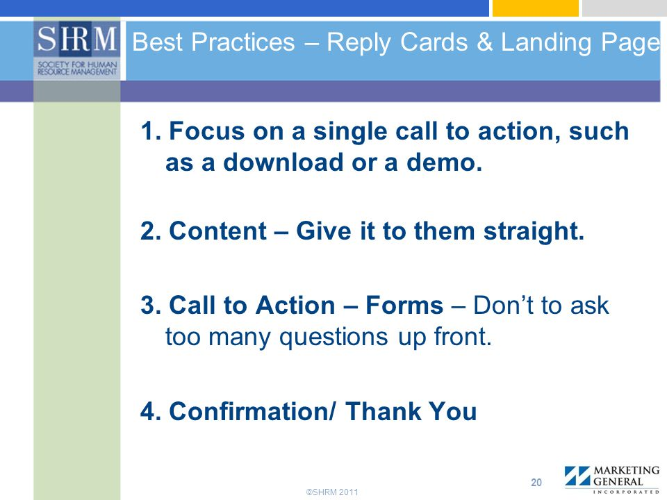 ©SHRM 2011 Best Practices – Reply Cards & Landing Page 1.