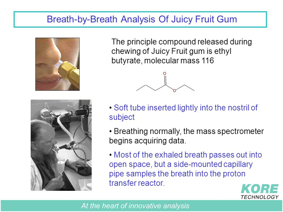 Breath-by-Breath Analysis Of Juicy Fruit Gum The principle compound released during chewing of Juicy Fruit gum is ethyl butyrate, molecular mass 116 Soft tube inserted lightly into the nostril of subject Breathing normally, the mass spectrometer begins acquiring data.