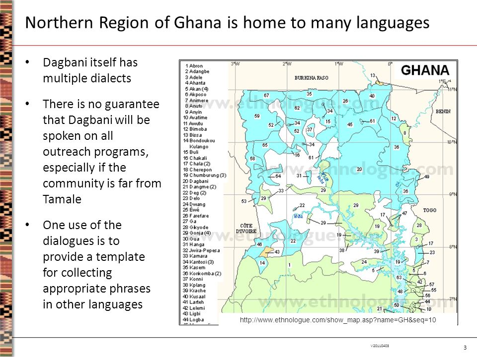 4 V20110403 Dagbani Language Resource, Yuri Hanada (UFS Tamale, January 2009) Wikipedia article on the Dagbani language, including references and external links Dagbani-English Dictionary prepared by Roger Blench (2004, 2006) Also of interest are… A dictionary of Ghanaian English by Roger Blench (2006) Many web sites for Twi, a common language alongside English Additional Dagbani resources are available on the web…