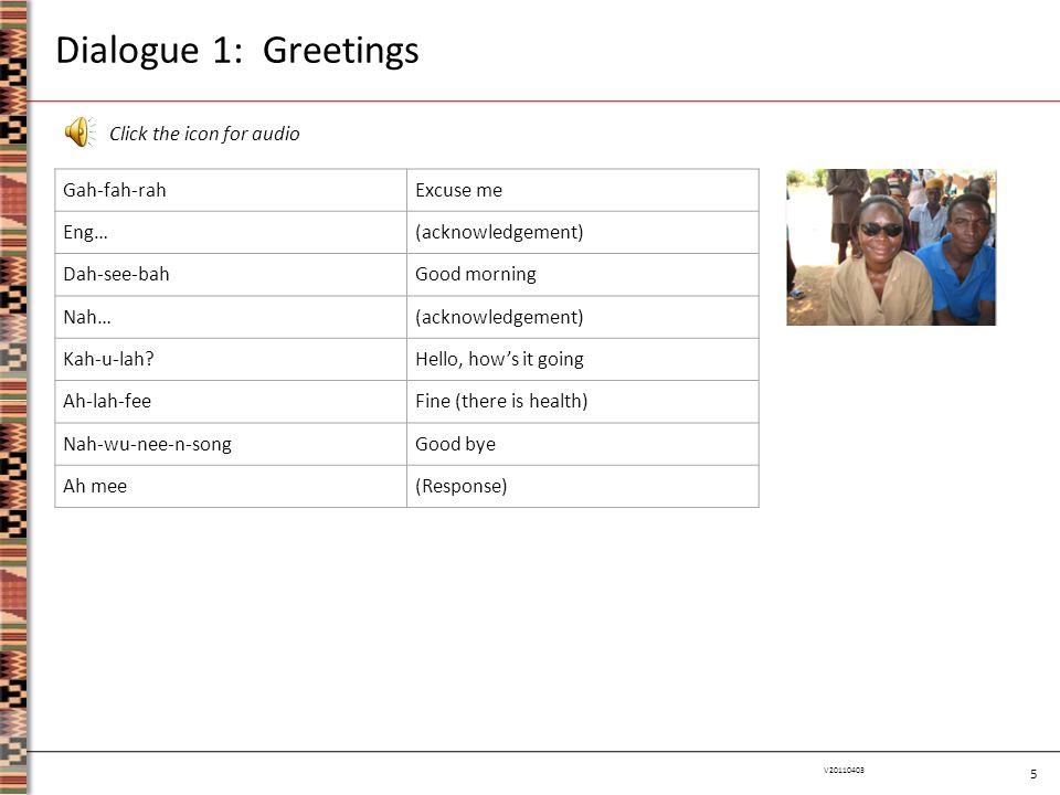 5 V20110403 Dialogue 1: Greetings Gah-fah-rahExcuse me Eng…(acknowledgement) Dah-see-bahGood morning Nah…(acknowledgement) Kah-u-lah?Hello, how's it g