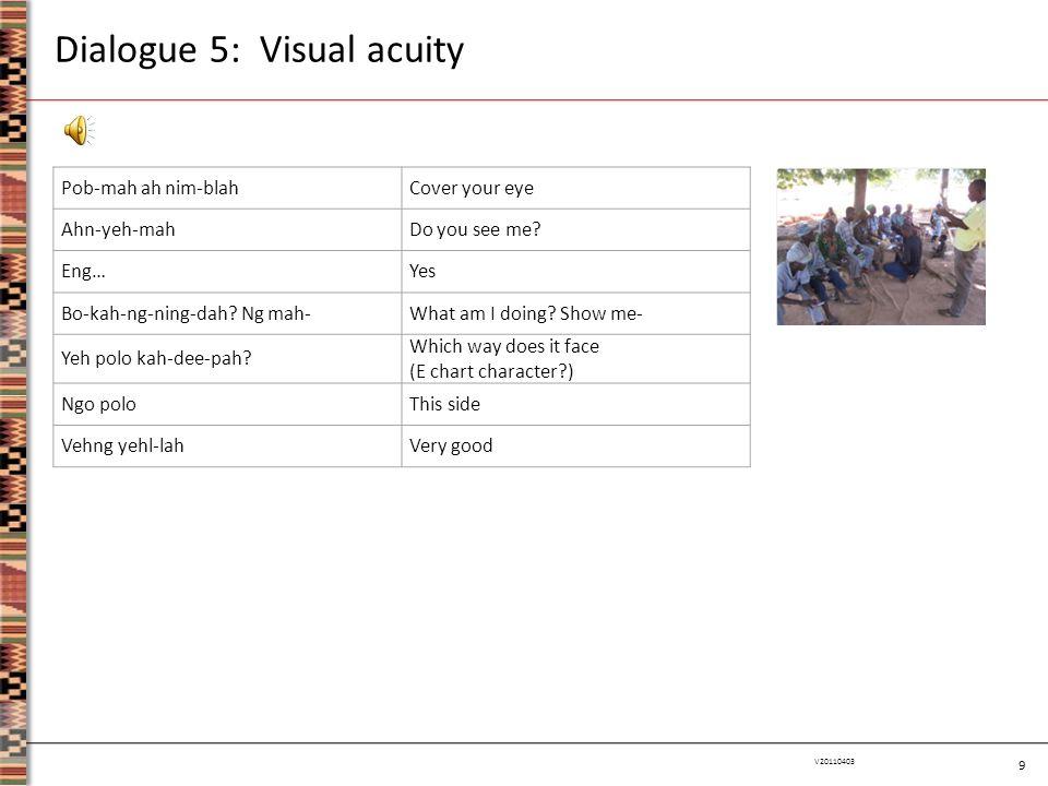 9 V20110403 Dialogue 5: Visual acuity Pob-mah ah nim-blahCover your eye Ahn-yeh-mahDo you see me? Eng…Yes Bo-kah-ng-ning-dah? Ng mah-What am I doing?