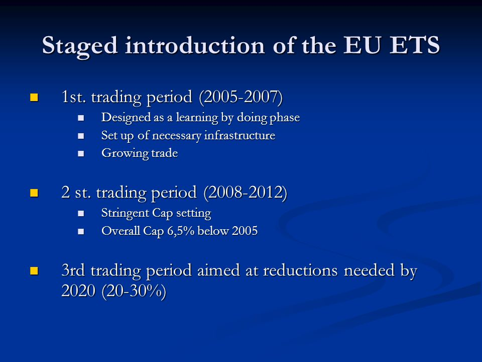 Staged introduction of the EU ETS 1st. trading period ( ) 1st.