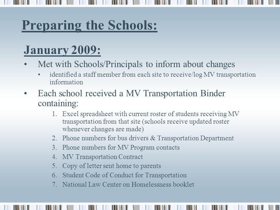 Preparing the Schools: January 2009: Met with Schools/Principals to inform about changes identified a staff member from each site to receive/log MV transportation information Each school received a MV Transportation Binder containing: 1.Excel spreadsheet with current roster of students receiving MV transportation from that site (schools receive updated roster whenever changes are made) 2.Phone numbers for bus drivers & Transportation Department 3.Phone numbers for MV Program contacts 4.MV Transportation Contract 5.Copy of letter sent home to parents 6.Student Code of Conduct for Transportation 7.National Law Center on Homelessness booklet