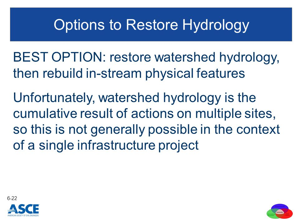BEST OPTION: restore watershed hydrology, then rebuild in-stream physical features Unfortunately, watershed hydrology is the cumulative result of acti
