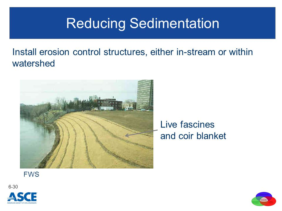Install erosion control structures, either in-stream or within watershed Reducing Sedimentation 6-30 FWS Live fascines and coir blanket
