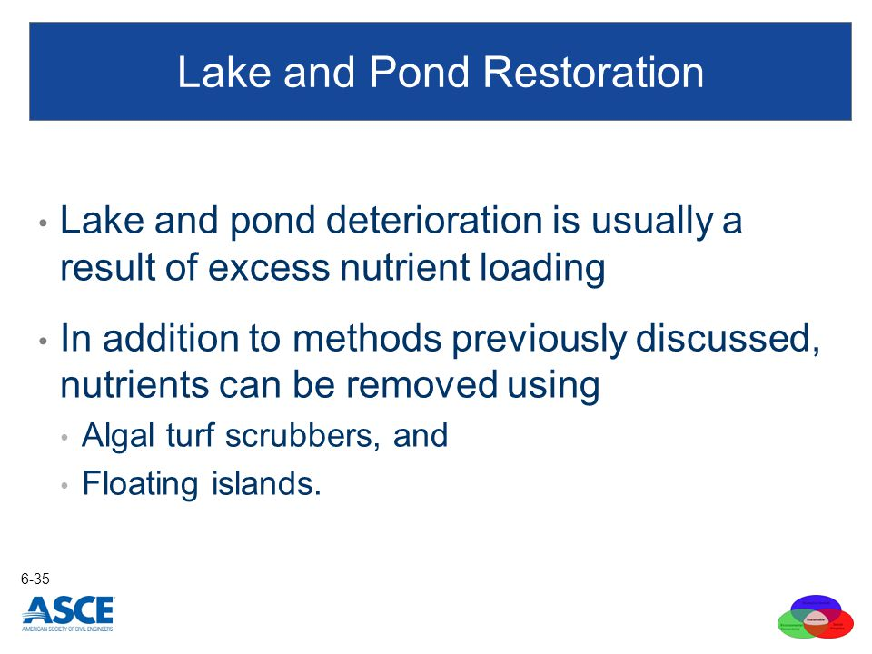 Lake and pond deterioration is usually a result of excess nutrient loading In addition to methods previously discussed, nutrients can be removed using