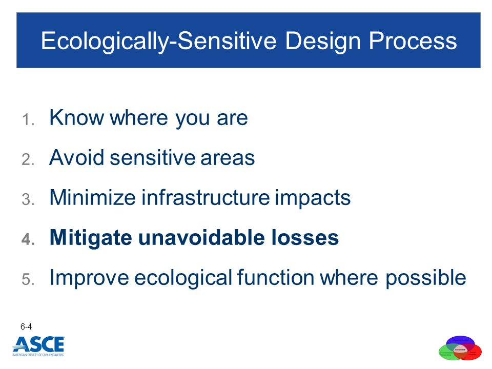 1. Know where you are 2. Avoid sensitive areas 3. Minimize infrastructure impacts 4. Mitigate unavoidable losses 5. Improve ecological function where