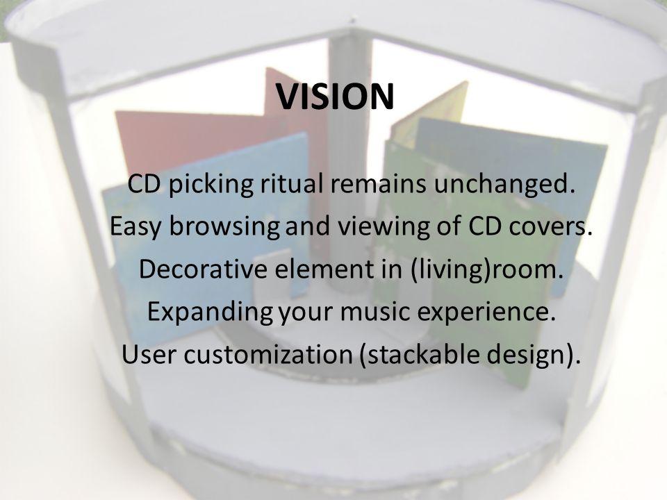 VISION CD picking ritual remains unchanged. Easy browsing and viewing of CD covers.