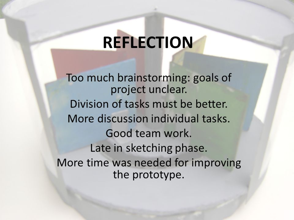 REFLECTION Too much brainstorming: goals of project unclear.