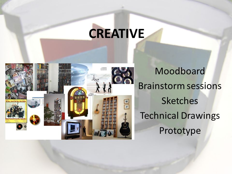 CREATIVE Moodboard Brainstorm sessions Sketches Technical Drawings Prototype