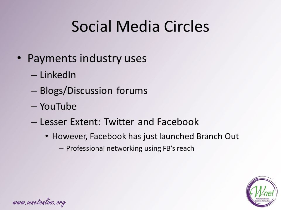 Social Media Circles Payments industry uses – LinkedIn – Blogs/Discussion forums – YouTube – Lesser Extent: Twitter and Facebook However, Facebook has just launched Branch Out – Professional networking using FB's reach