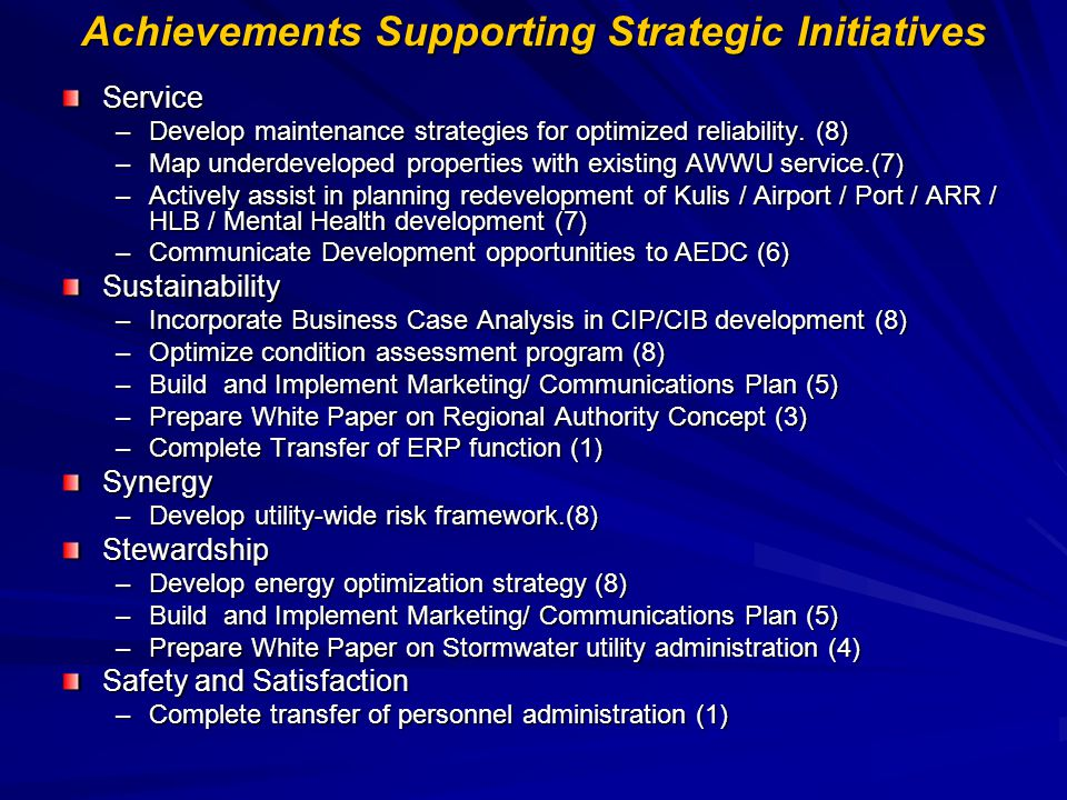 Achievements Supporting Strategic Initiatives Service –Develop maintenance strategies for optimized reliability. (8) –Map underdeveloped properties wi