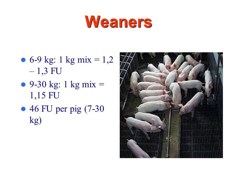11 Weaners 6-9 kg: 1 kg mix = 1,2 – 1,3 FU 9-30 kg: 1 kg mix = 1,15 FU 46 FU per pig (7-30 kg)
