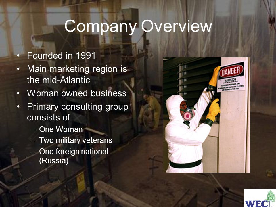 Company Overview Founded in 1991 Main marketing region is the mid-Atlantic Woman owned business Primary consulting group consists of –One Woman –Two military veterans –One foreign national (Russia)