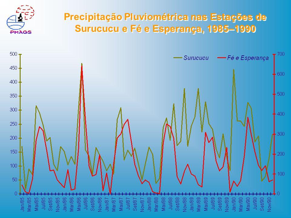Precipitação Pluviométrica nas Estações de Surucucu e Fé e Esperança, 1985–1990