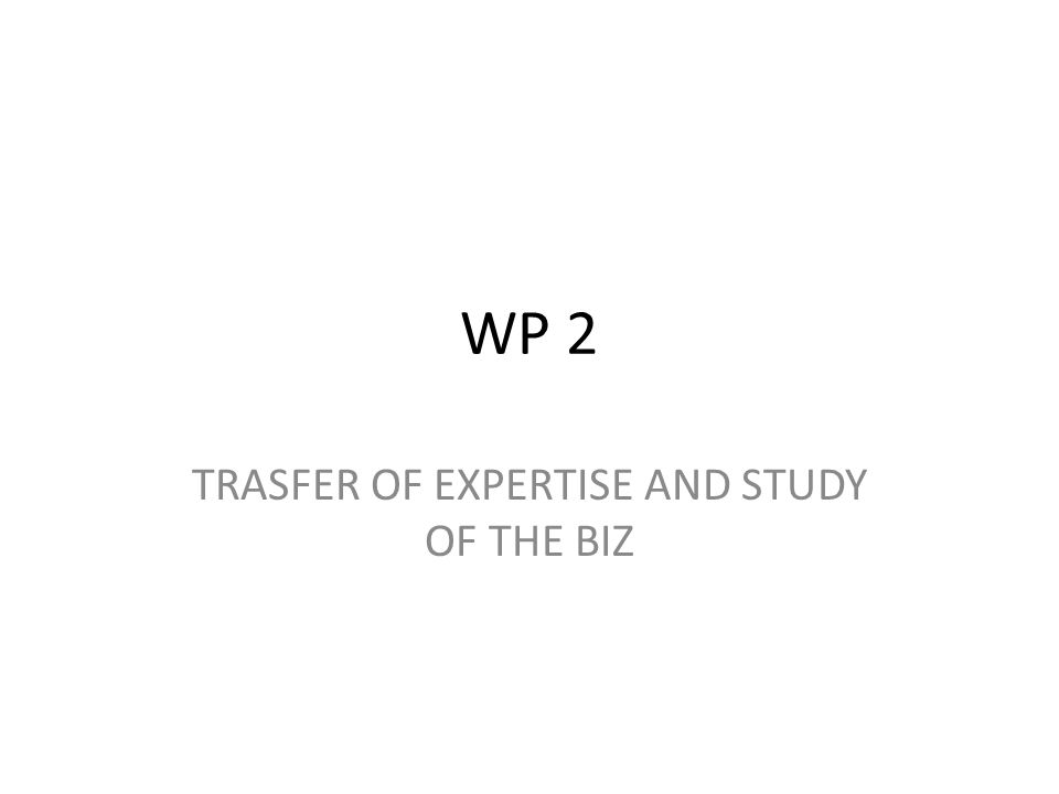 WP 2 TRASFER OF EXPERTISE AND STUDY OF THE BIZ