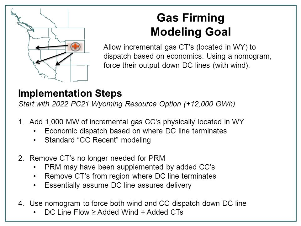 Gas Firming Modeling Goal Allow incremental gas CT's (located in WY) to dispatch based on economics. Using a nomogram, force their output down DC line