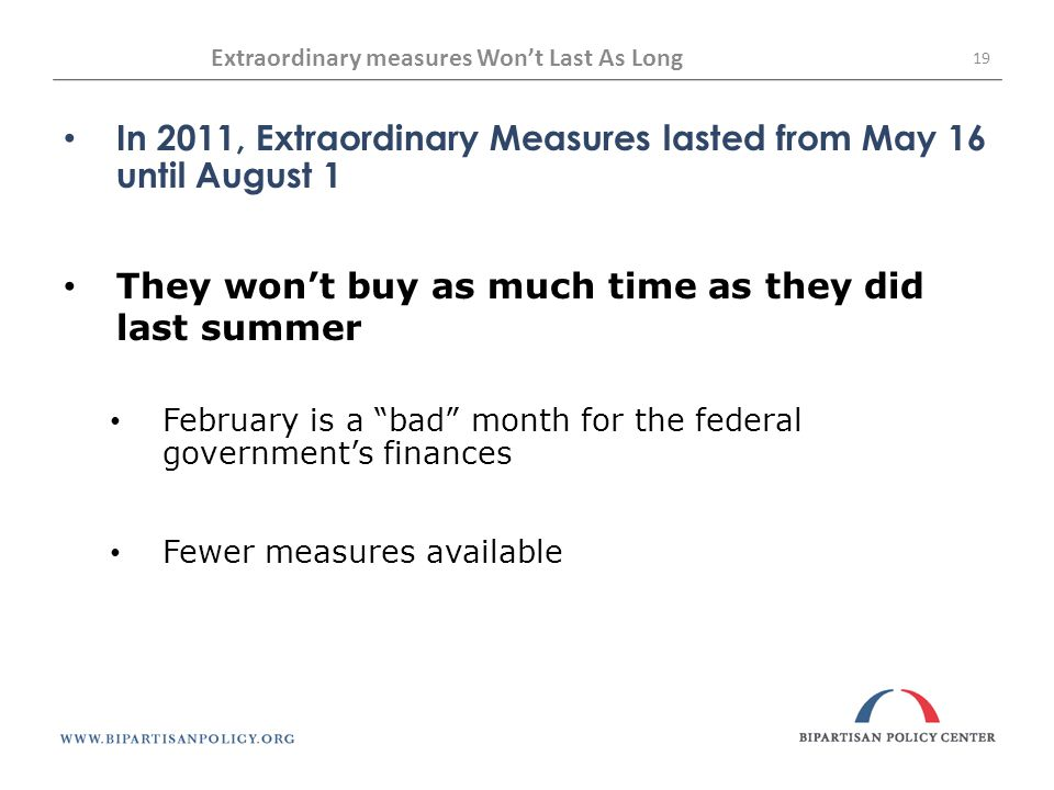 Extraordinary measures Won't Last As Long 19 In 2011, Extraordinary Measures lasted from May 16 until August 1 They won't buy as much time as they did last summer February is a bad month for the federal government's finances Fewer measures available