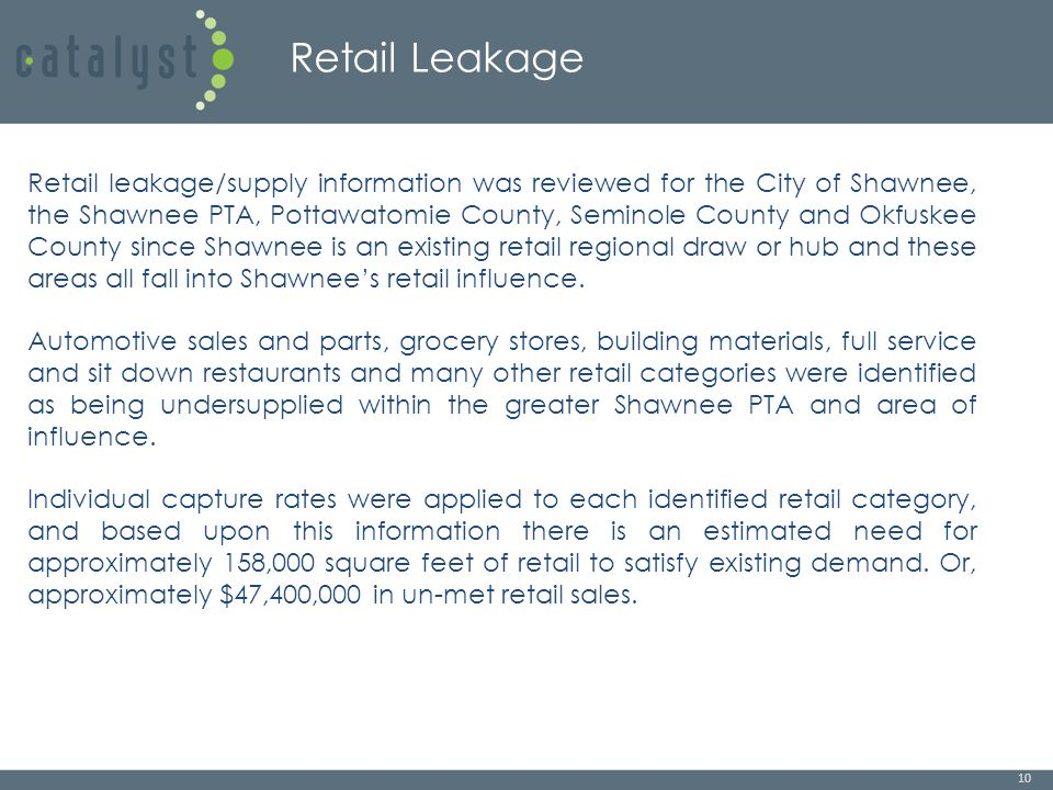 Retail Leakage 10 Retail leakage/supply information was reviewed for the City of Shawnee, the Shawnee PTA, Pottawatomie County, Seminole County and Okfuskee County since Shawnee is an existing retail regional draw or hub and these areas all fall into Shawnee's retail influence.