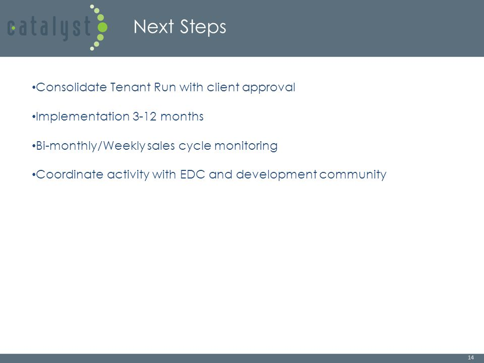 Next Steps 14 Consolidate Tenant Run with client approval Implementation 3-12 months Bi-monthly/Weekly sales cycle monitoring Coordinate activity with EDC and development community