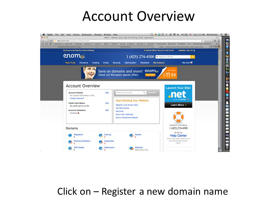 Account Overview Click on – Register a new domain name