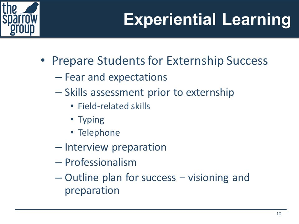 Experiential Learning Prepare Students for Externship Success – Fear and expectations – Skills assessment prior to externship Field-related skills Typing Telephone – Interview preparation – Professionalism – Outline plan for success – visioning and preparation 10