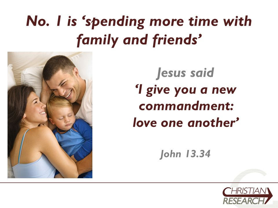 No. 1 is 'spending more time with family and friends' Jesus said 'I give you a new commandment: love one another' John 13.34