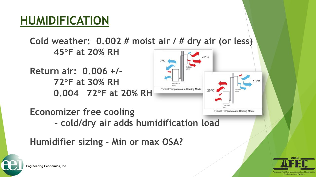 HUMIDIFICATION Cold weather: 0.002 # moist air / # dry air (or less) 45  F at 20% RH Return air: 0.006 +/- 72  F at 30% RH 0.004 72  F at 20% RH Ec