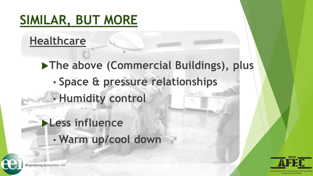 SIMILAR, BUT MORE Healthcare  The above (Commercial Buildings), plus Space & pressure relationships Humidity control  Less influence Warm up/cool do