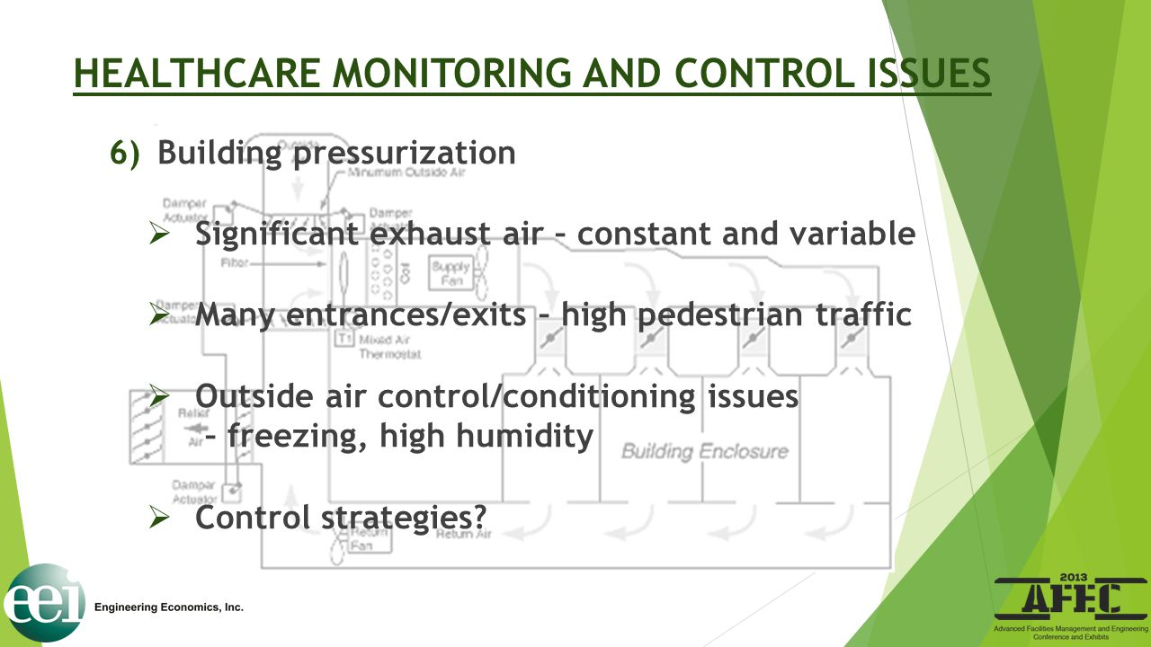 HEALTHCARE MONITORING AND CONTROL ISSUES 6)Building pressurization  Significant exhaust air – constant and variable  Many entrances/exits – high ped
