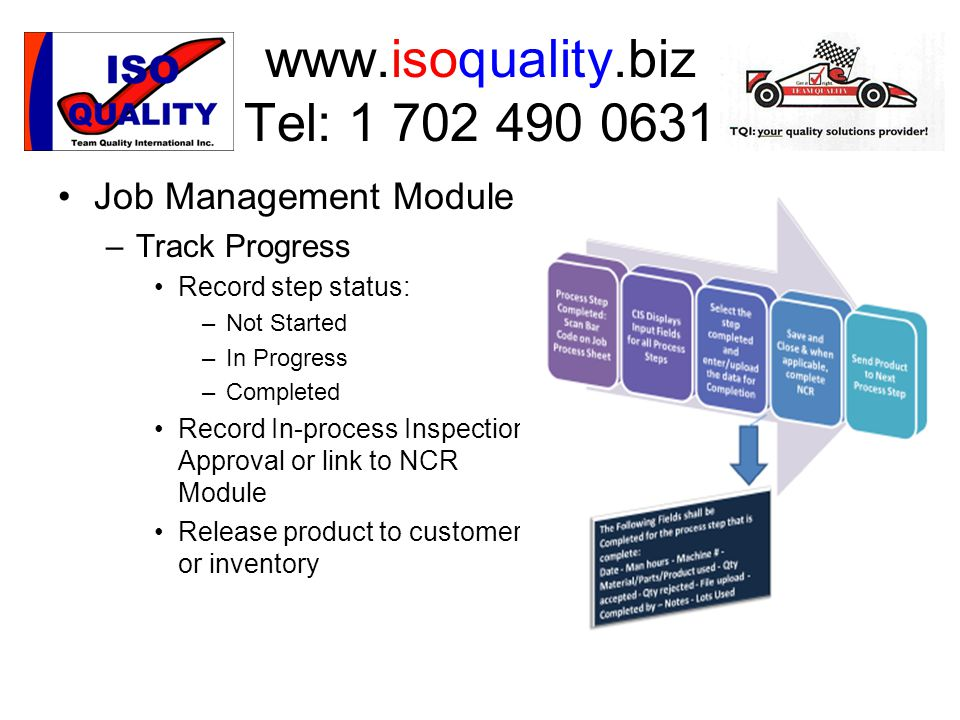 www.isoquality.biz Tel: 1 702 490 0631 Job Management Module –T–Track Progress Record step status: –N–Not Started –I–In Progress –C–Completed Record In-process Inspection Approval or link to NCR Module Release product to customer or inventory