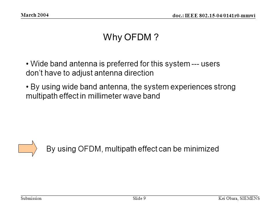 doc.: IEEE 802.15-04/0141r0-mmwi Submission March 2004 Kei Obara, SIEMENSSlide 9 Why OFDM .