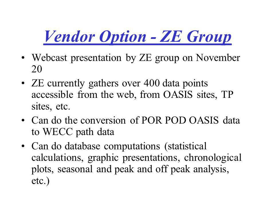 Vendor Option - ZE Group Webcast presentation by ZE group on November 20 ZE currently gathers over 400 data points accessible from the web, from OASIS sites, TP sites, etc.