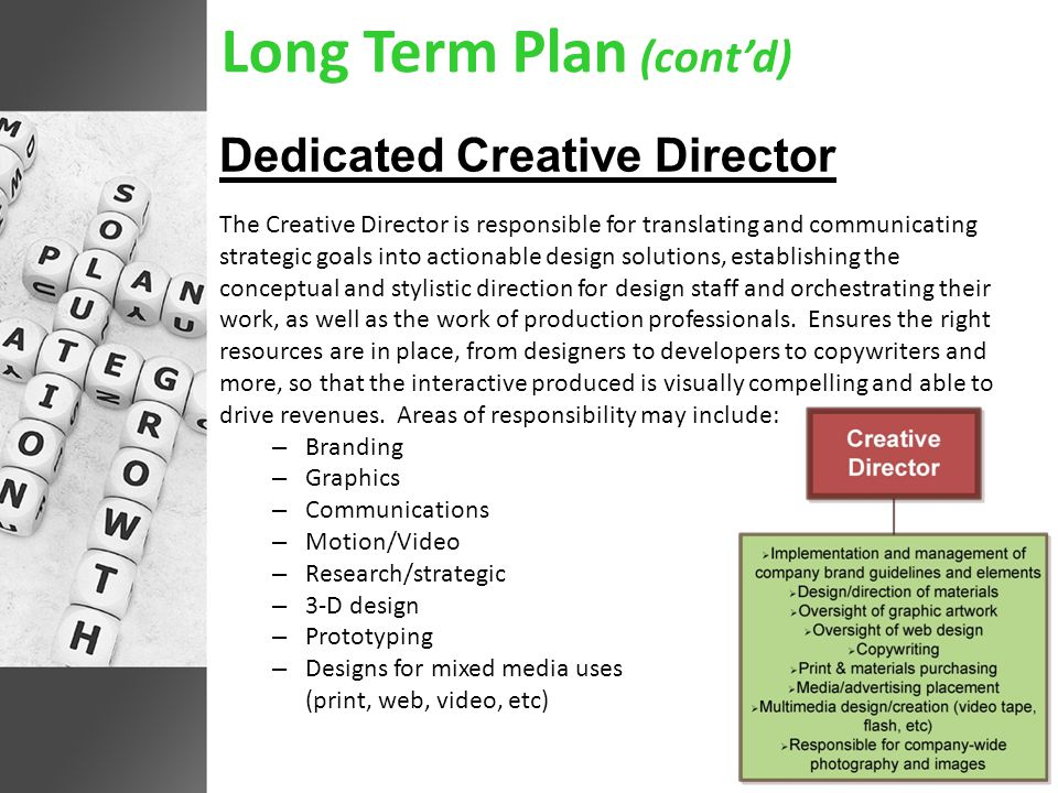 Long Term Plan (cont'd) Dedicated Creative Director The Creative Director is responsible for translating and communicating strategic goals into actionable design solutions, establishing the conceptual and stylistic direction for design staff and orchestrating their work, as well as the work of production professionals.