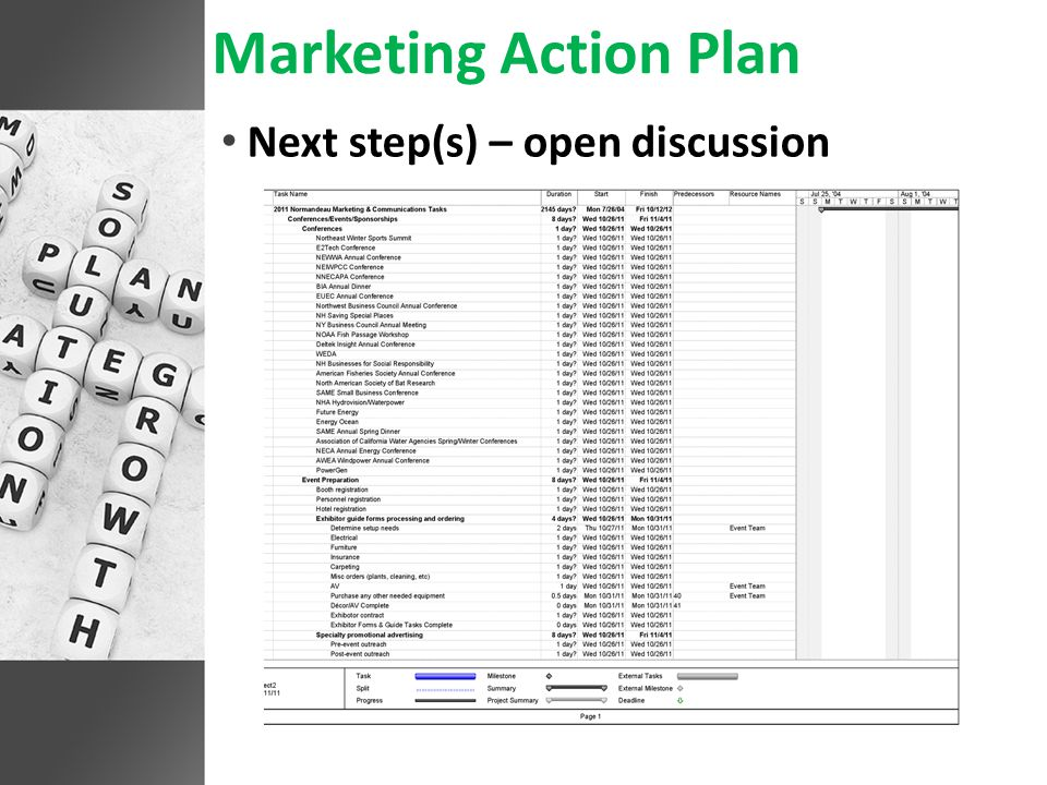 Marketing Action Plan Next step(s) – open discussion
