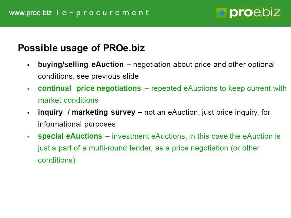 www.proe.biz l e – p r o c u r e m e n t Provider of system PROe.biz: NAR marketing s.r.o.