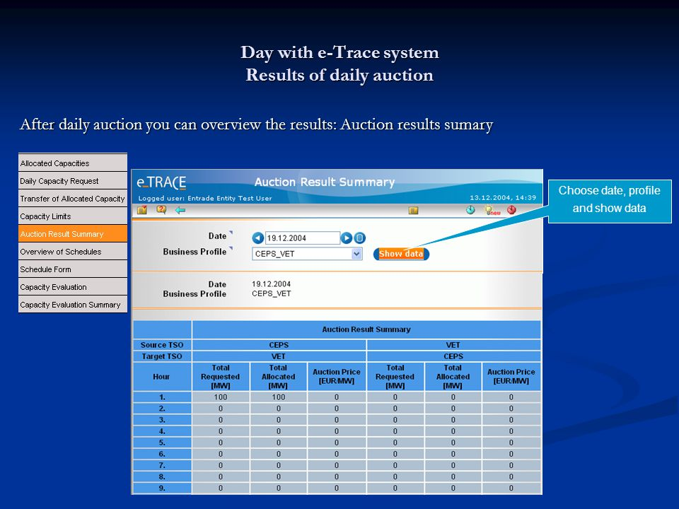 Day with e-Trace system Results of daily auction After daily auction you can overview the results: Auction results sumary Choose date, profile and show data