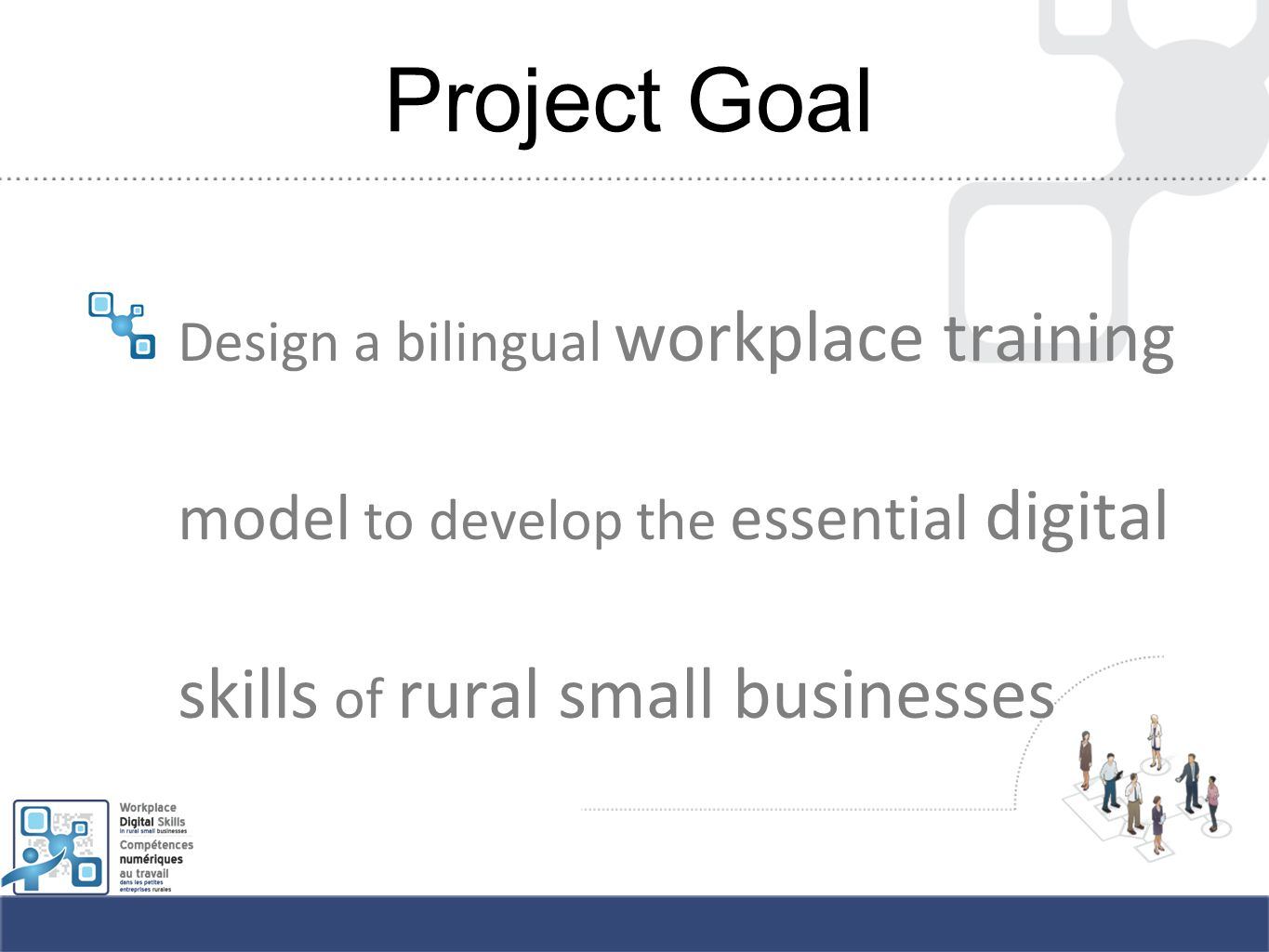 Project Goal Design a bilingual workplace training model to develop the essential digital skills of rural small businesses